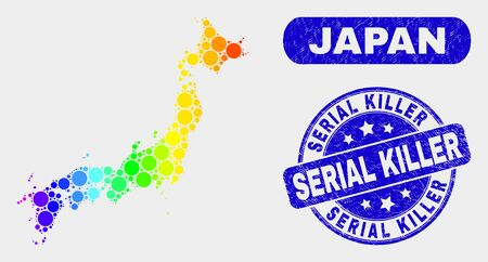 Rainbow colored dot Japan map and seal stamps. Blue round Serial Killer textured watermark. Gradient rainbow colored Japan map mosaic of random round dots. Serial Killer watermark with dirty texture.