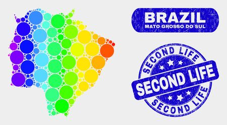 Rainbow colored dotted Mato Grosso do Sul State map and seal stamps. Blue round Second Life textured stamp. Gradiented rainbow colored Mato Grosso do Sul State map mosaic of random round elements.