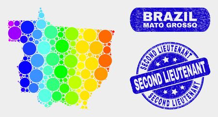 Spectrum dotted Mato Grosso State map and rubber prints. Blue round Second Lieutenant grunge seal. Gradiented spectrum Mato Grosso State map mosaic of randomized small spheres.  イラスト・ベクター素材