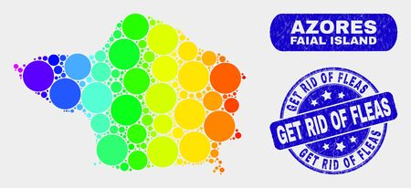 Spectrum dot Faial Island map and stamps. Blue round Get Rid of Fleas grunge seal stamp. Gradiented spectrum Faial Island map mosaic of randomized round dots. Illustration