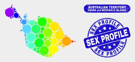 Rainbow colored spotted Heard and McDonald Islands map and watermarks. Blue round Sex Profile grunge watermark. Gradient rainbow colored Heard and McDonald Islands map mosaic of random round spots.