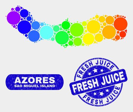 Rainbow colored dot Sao Miguel Island map and seals. Blue rounded Fresh Juice grunge seal. Gradient rainbow colored Sao Miguel Island map mosaic of randomized round spots.