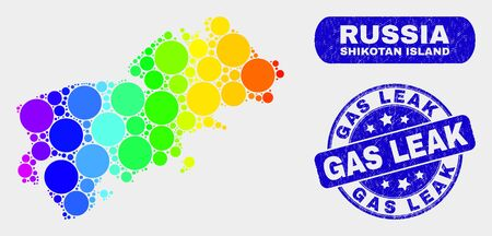 Rainbow colored spotted Shikotan Island map and stamps. Blue round Gas Leak grunge stamp. Gradiented rainbow colored Shikotan Island map mosaic of random round elements.