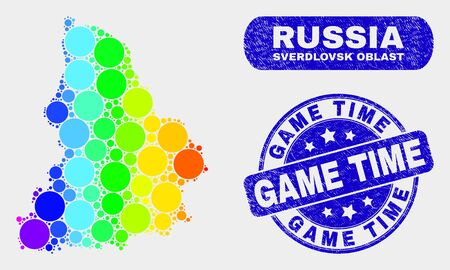 Rainbow colored dot Sverdlovsk Region map and seals. Blue round Game Time scratched seal stamp. Gradiented rainbow colored Sverdlovsk Region map mosaic of random round elements.