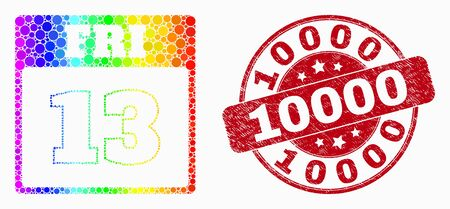 Dot bright spectral 13th Friday calendar page mosaic icon and 10000 seal stamp. Red vector round grunge seal with 10000 phrase. Vector composition in flat style.