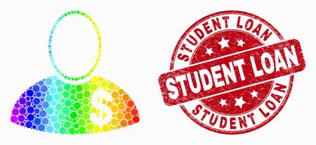 Dotted spectrum banker mosaic icon and Student Loan stamp. Red vector rounded distress stamp with Student Loan phrase. Vector composition in flat style. Ilustração