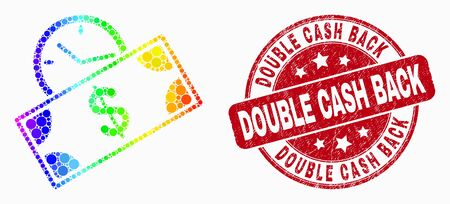 Dot spectrum banknote credit time mosaic icon and Double Cash Back stamp. Red vector round grunge seal stamp with Double Cash Back message. Vector combination in flat style. Ilustração