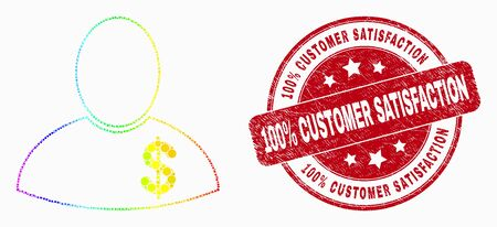 Pixel rainbow gradiented banker mosaic pictogram and 100% Customer Satisfaction seal. Red vector rounded scratched stamp with 100% Customer Satisfaction message. Vector composition in flat style.