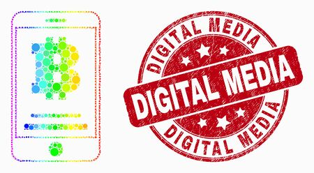 Dotted spectral bitcoin mobile account mosaic icon and Digital Media seal stamp. Red vector rounded distress seal stamp with Digital Media text. Vector composition in flat style.