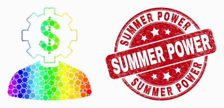 Dot spectrum banker gear person mosaic pictogram and Summer Power seal stamp. Red vector rounded scratched seal stamp with Summer Power phrase. Vector composition in flat style.