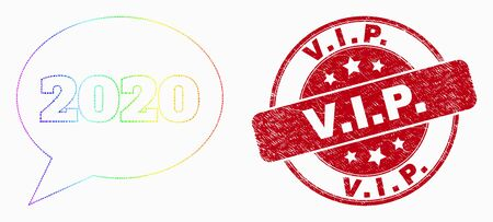 Pixel bright spectral 2020 message balloon mosaic pictogram and V.I.P. seal stamp. Red vector round textured seal stamp with V.I.P. message. Vector combination in flat style. Фото со стока - 129670409