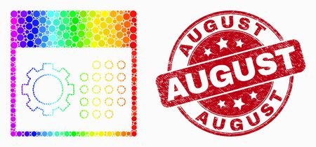 Dot rainbow gradiented calendar settings mosaic icon and August seal. Red vector rounded grunge seal stamp with August message. Vector composition in flat style.