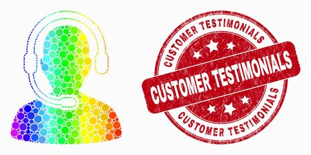 Dot spectrum call center operator mosaic icon and Customer Testimonials seal stamp. Red vector round grunge seal stamp with Customer Testimonials message. Vector combination in flat style.