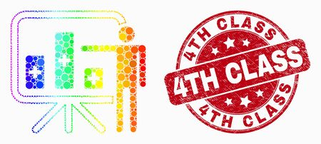 Pixel spectral bar chart presentation mosaic pictogram and 4Th Class seal stamp. Red vector rounded textured seal stamp with 4Th Class phrase. Vector combination in flat style.