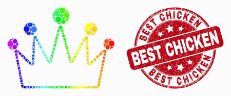Dot rainbow gradiented crown mosaic pictogram and Best Chicken seal stamp. Red vector round distress seal stamp with Best Chicken text. Vector combination in flat style.