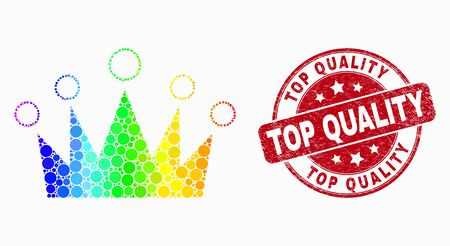 Pixelated spectrum crown mosaic pictogram and Top Quality seal stamp. Red vector round scratched seal stamp with Top Quality phrase. Vector combination in flat style. Archivio Fotografico - 129670481