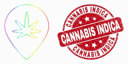 Dotted spectral cannabis map marker mosaic icon and Cannabis Indica seal stamp. Red vector rounded distress seal stamp with Cannabis Indica message. Vector composition in flat style.