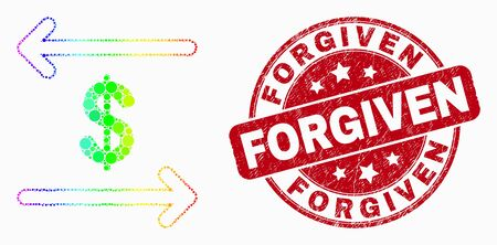Dot bright spectral dollar exchange arrows mosaic icon and Forgiven seal stamp. Red vector rounded distress seal stamp with Forgiven message. Vector combination in flat style.