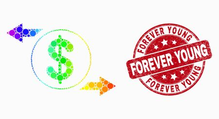 Dot spectrum dollar exchange arrows mosaic icon and Forever Young seal stamp. Red vector rounded textured stamp with Forever Young phrase. Vector collage in flat style.