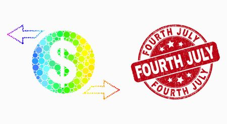 Dot rainbow gradiented dollar exchange arrows mosaic pictogram and Fourth July seal stamp. Red vector rounded grunge seal with Fourth July text. Vector combination in flat style.