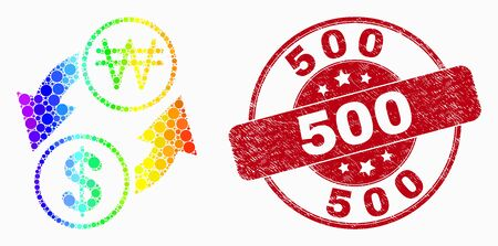 Dotted spectral dollar exchange korean won mosaic pictogram and 500 seal stamp. Red vector round textured stamp with 500 caption. Vector combination in flat style.