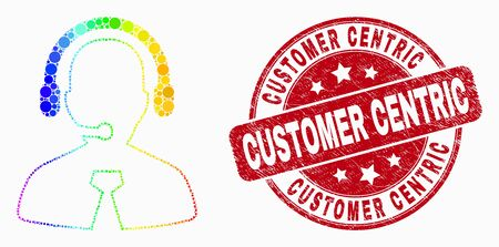 Pixel spectrum call center manager mosaic icon and Customer Centric seal stamp. Red vector round grunge seal with Customer Centric caption. Vector collage in flat style. Stock Illustratie