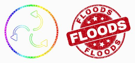Dot bright spectral cyclone arrows mosaic pictogram and Floods seal stamp. Red vector rounded textured seal stamp with Floods text. Vector collage in flat style.  イラスト・ベクター素材