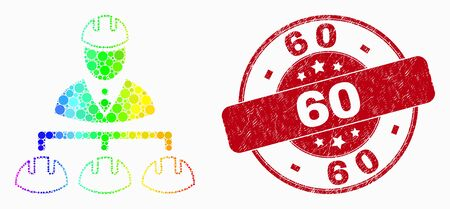 Pixel spectrum engineer hierarchy mosaic icon and 60 stamp. Red vector round grunge seal stamp with 60 phrase. Vector collage in flat style.