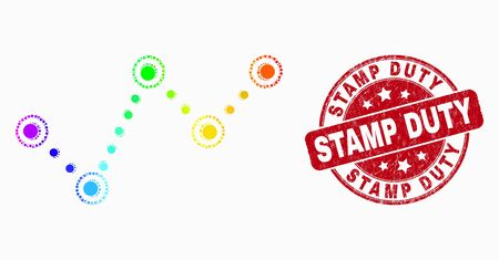 Dotted bright spectral dotted trend chart mosaic pictogram and Stamp Duty seal stamp. Red vector rounded grunge seal stamp with Stamp Duty text. Vector collage in flat style. Reklamní fotografie - 129670608