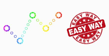 Dot spectral dotted trend chart mosaic pictogram and Easy Way seal. Red vector round textured seal with Easy Way phrase. Vector collage in flat style.