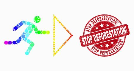 Pixel rainbow gradiented exit person mosaic icon and Stop Deforestation! seal stamp. Red vector round textured seal stamp with Stop Deforestation! title. Vector composition in flat style. Ilustracja