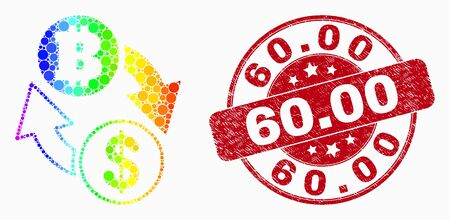 Pixel rainbow gradiented dollar bitcoin exchange mosaic icon and 60.00 stamp. Red vector round distress seal stamp with 60.00 message. Vector composition in flat style. Иллюстрация