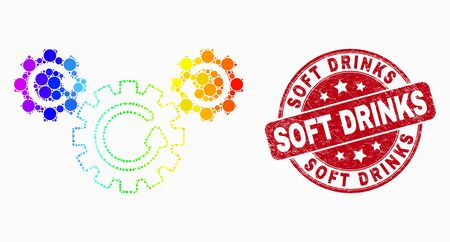 Dotted rainbow gradiented gear rotation mosaic pictogram and Soft Drinks seal. Red vector rounded textured watermark with Soft Drinks text. Vector combination in flat style.