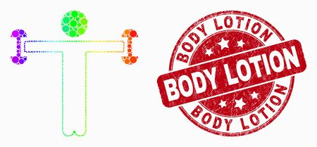Pixelated bright spectral fitness person mosaic icon and Body Lotion stamp. Red vector rounded grunge seal stamp with Body Lotion caption. Vector combination in flat style.