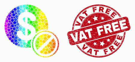 Dot spectrum forbidden dollar mosaic icon and Vat Free stamp. Red vector round grunge seal stamp with Vat Free message. Vector collage in flat style. Foto de archivo - 129716567
