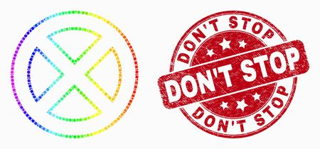 Pixel spectrum forbidden mosaic icon and DonT Stop seal stamp. Red vector rounded textured seal stamp with DonT Stop phrase. Vector combination in flat style.