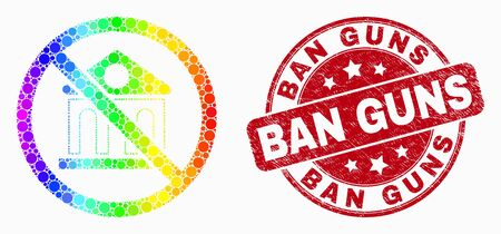Dot spectrum forbidden bank mosaic pictogram and Ban Guns seal. Red vector rounded distress seal stamp with Ban Guns text. Vector collage in flat style. Stock Illustratie
