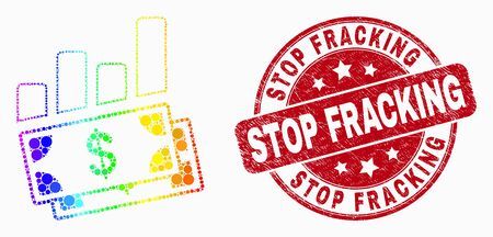 Dotted bright spectral financial charts mosaic pictogram and Stop Fracking stamp. Red vector rounded textured stamp with Stop Fracking caption. Vector combination in flat style.