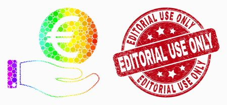 Dotted rainbow gradiented hand offer euro coin mosaic icon and Editorial Use Only seal stamp. Red vector round distress seal with Editorial Use Only phrase. Vector combination in flat style. Ilustração