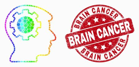 Pixelated bright spectral gear thinking head mosaic pictogram and Brain Cancer seal. Red vector rounded grunge seal stamp with Brain Cancer message. Vector composition in flat style.