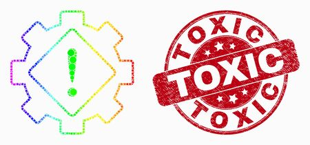 Dotted bright spectral gear warning mosaic pictogram and Toxic seal stamp. Red vector rounded textured seal stamp with Toxic caption. Vector collage in flat style.