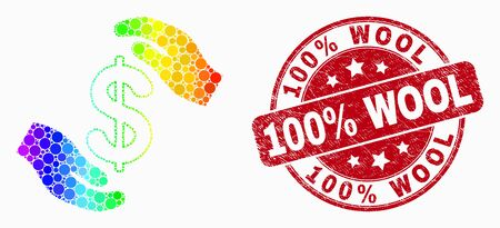 Dot bright spectral hands care dollar mosaic pictogram and 100% Wool seal stamp. Red vector rounded scratched seal stamp with 100% Wool title. Vector composition in flat style.