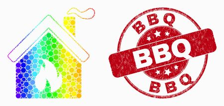 Pixelated rainbow gradiented kitchen building mosaic pictogram and BBQ stamp. Red vector rounded grunge stamp with BBQ message. Vector composition in flat style.