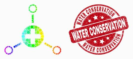 Pixel spectral medical center links mosaic pictogram and Water Conservation seal. Red vector rounded textured seal stamp with Water Conservation message. Vector collage in flat style.