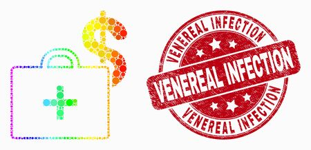 Pixelated spectral medical business case mosaic icon and Venereal Infection stamp. Red vector rounded grunge seal with Venereal Infection title. Vector composition in flat style.