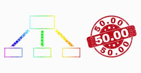 Pixel spectral hierarchy links mosaic icon and 50.00 seal stamp. Red vector round scratched stamp with 50.00 text. Vector collage in flat style. 일러스트