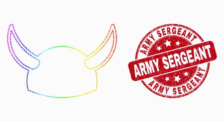 Dot rainbow gradiented horned helmet mosaic icon and Army Sergeant seal. Red vector rounded scratched seal stamp with Army Sergeant phrase. Vector composition in flat style.