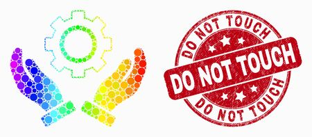 Pixelated bright spectral gear care hands mosaic icon and Do Not Touch seal stamp. Red vector round scratched seal with Do Not Touch text. Vector combination in flat style.