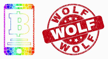 Dot bright spectral mobile bank mosaic icon and Wolf seal stamp. Red vector round textured seal with Wolf message. Vector collage in flat style. 일러스트