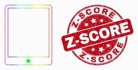 Pixel bright spectral mobile organizer mosaic icon and Z-Score watermark. Red vector rounded scratched seal stamp with Z-Score message. Vector collage in flat style.